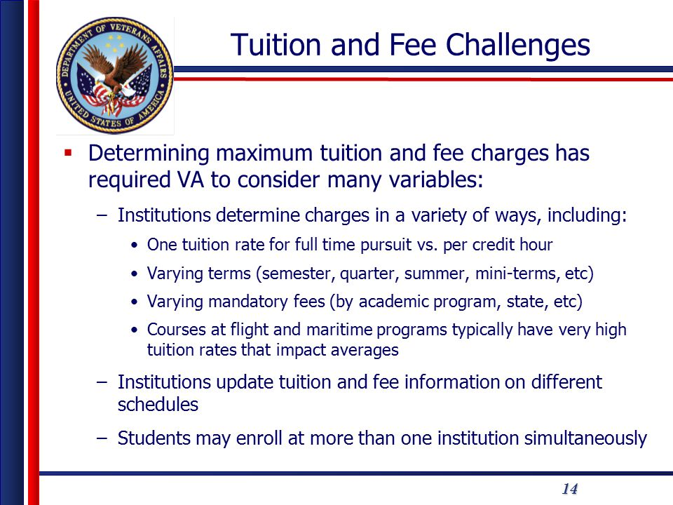 14 Tuition and Fee Challenges  Determining maximum tuition and fee charges has required VA to consider many variables: –Institutions determine charges in a variety of ways, including: One tuition rate for full time pursuit vs.