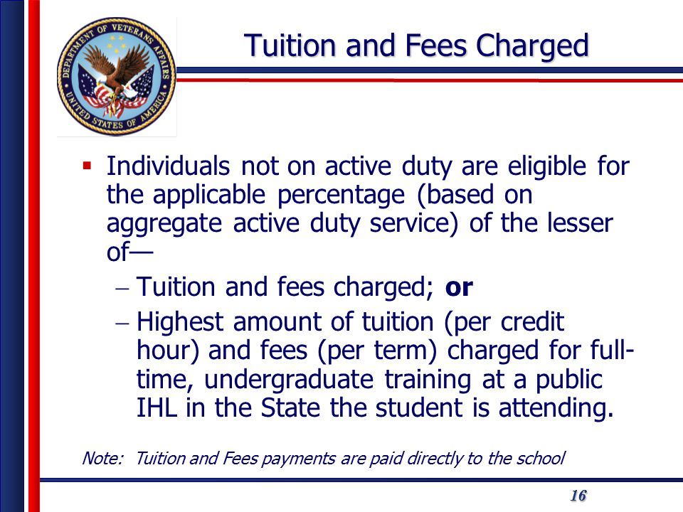 161616 Tuition and Fees Charged  Individuals not on active duty are eligible for the applicable percentage (based on aggregate active duty service) of the lesser of—  Tuition and fees charged; or  Highest amount of tuition (per credit hour) and fees (per term) charged for full- time, undergraduate training at a public IHL in the State the student is attending.