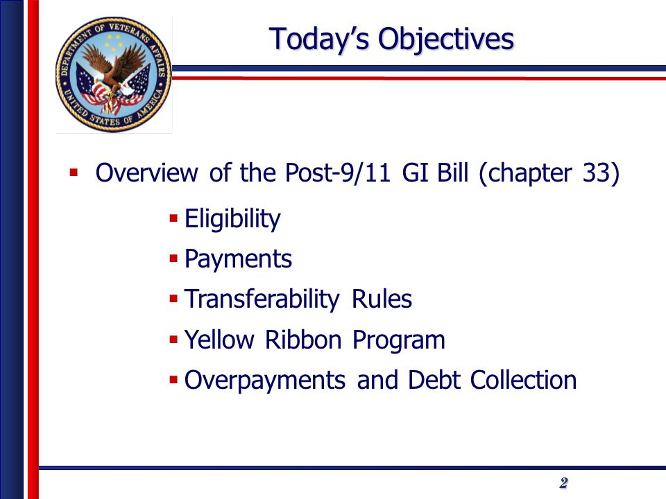 222 Today's Objectives  Overview of the Post-9/11 GI Bill (chapter 33)  Eligibility  Payments  Transferability Rules  Yellow Ribbon Program  Overpayments and Debt Collection