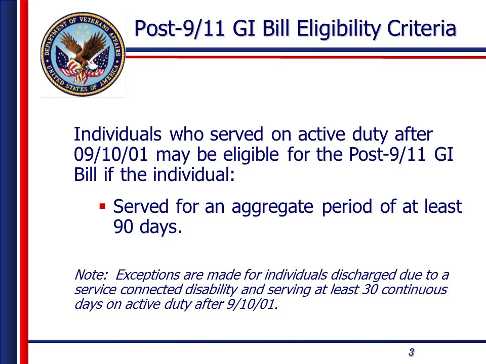 44 Eligibility Criteria Service Requirements (after 9/10/01 an individual must serve an aggregate of) Payment Tiers Percentage At least 36 months100 At least 30 continuous days on active duty (Must be discharged due to service-connected disability) 100 At least 30 months, but less than 36 months 90 At least 24 months, but less than 30 months 80 *At least 18 months, but less than 24 months 70 *At least 12 months, but less than 18 months 60 *At least 06 months, but less than 12 months 50 *At least 90 days, but less than 06 months 40 *Excludes time served in Basic Military Training and/or Skill Training