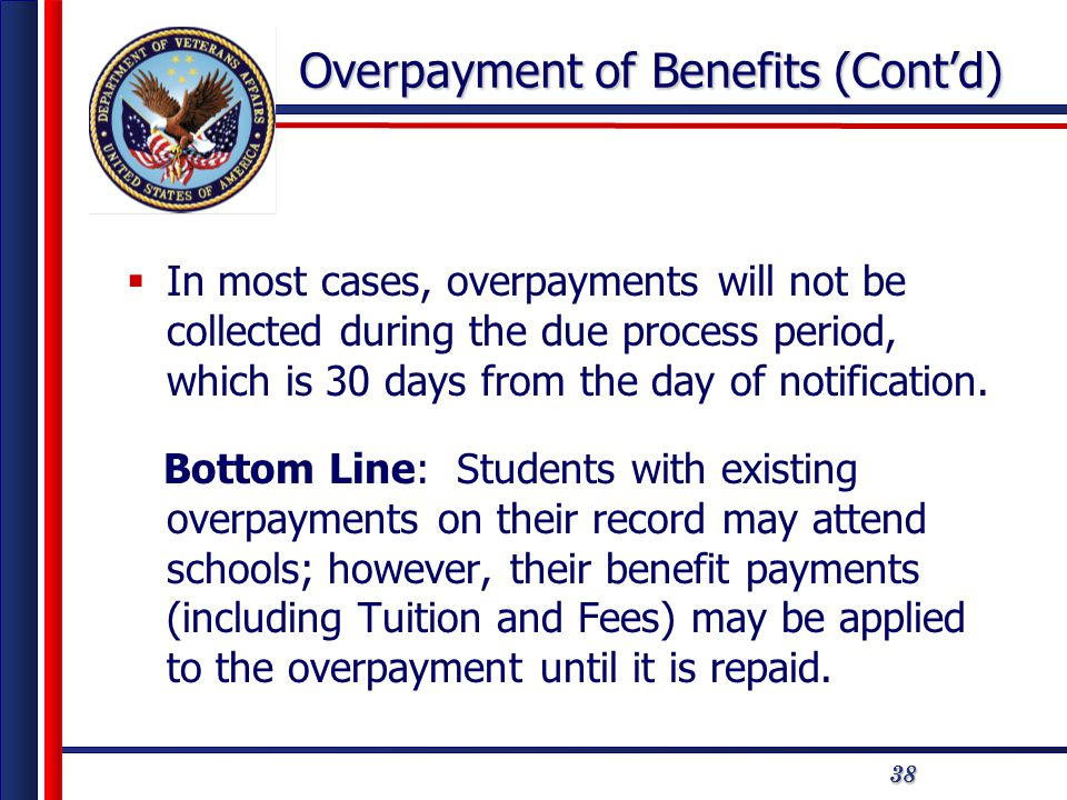 3838 Overpayment of Benefits (Cont'd)  In most cases, overpayments will not be collected during the due process period, which is 30 days from the day of notification.
