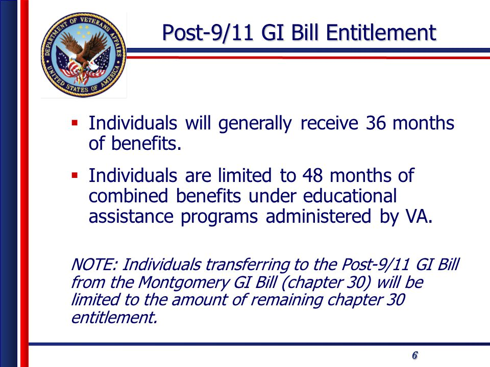 777 Post-9/11 GI Bill Benefit Payments  Tuition and Fees  Monthly Housing Allowance  Books and Supplies Stipend  Kickers/College Fund/ Buy-up  Yellow Ribbon Program