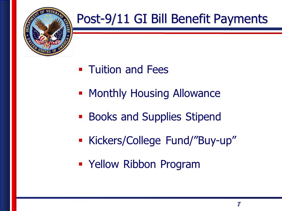 777 Post-9/11 GI Bill Benefit Payments  Tuition and Fees  Monthly Housing Allowance  Books and Supplies Stipend  Kickers/College Fund/ Buy-up  Yellow Ribbon Program