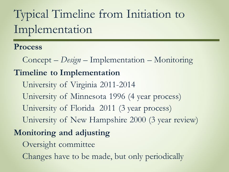 Typical Timeline from Initiation to Implementation Process Concept – Design – Implementation – Monitoring Timeline to Implementation University of Vir