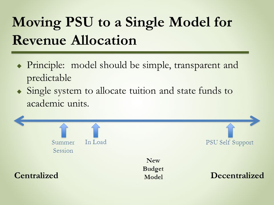 Moving PSU to a Single Model for Revenue Allocation  Principle: model should be simple, transparent and predictable  Single system to allocate tuition and state funds to academic units.
