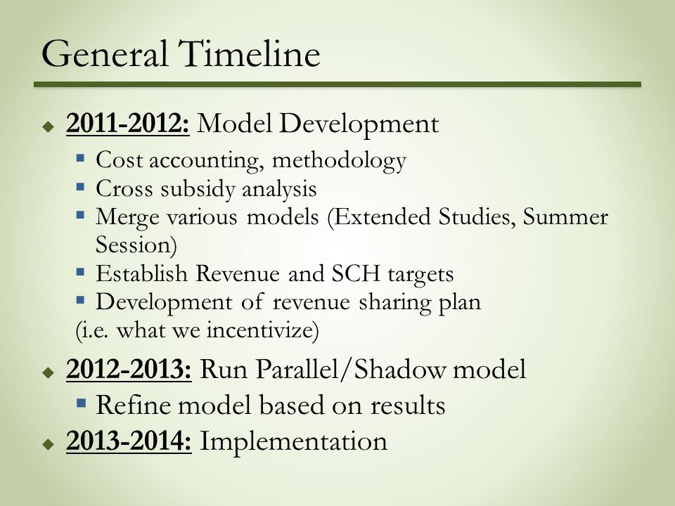 General Timeline  2011-2012: Model Development  Cost accounting, methodology  Cross subsidy analysis  Merge various models (Extended Studies, Summer Session)  Establish Revenue and SCH targets  Development of revenue sharing plan (i.e.