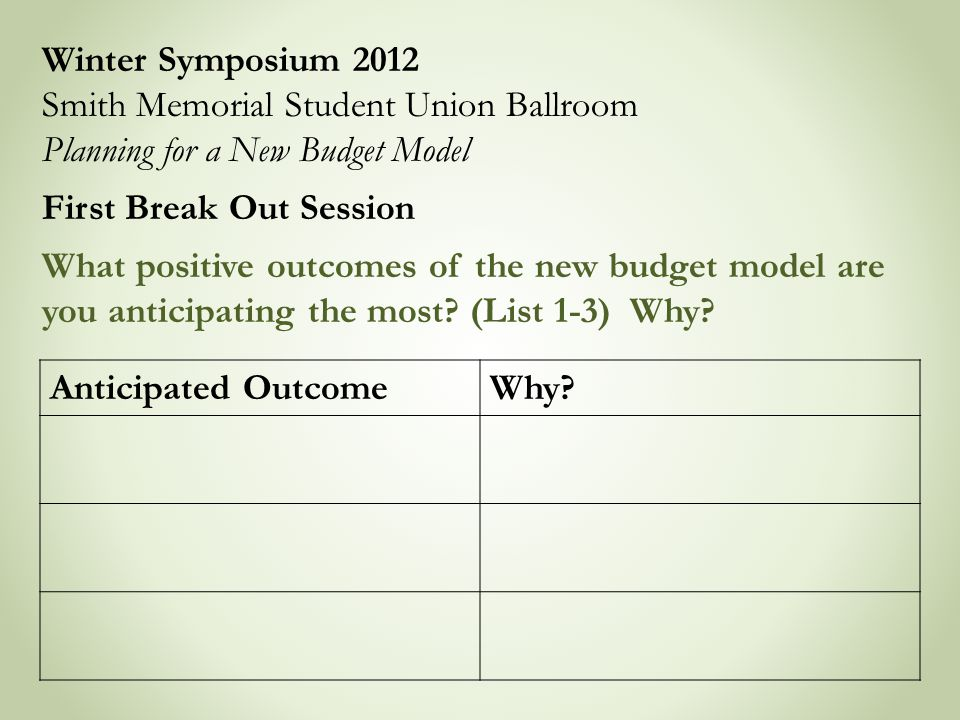 Winter Symposium 2012 Smith Memorial Student Union Ballroom Planning for a New Budget Model First Break Out Session What positive outcomes of the new budget model are you anticipating the most.
