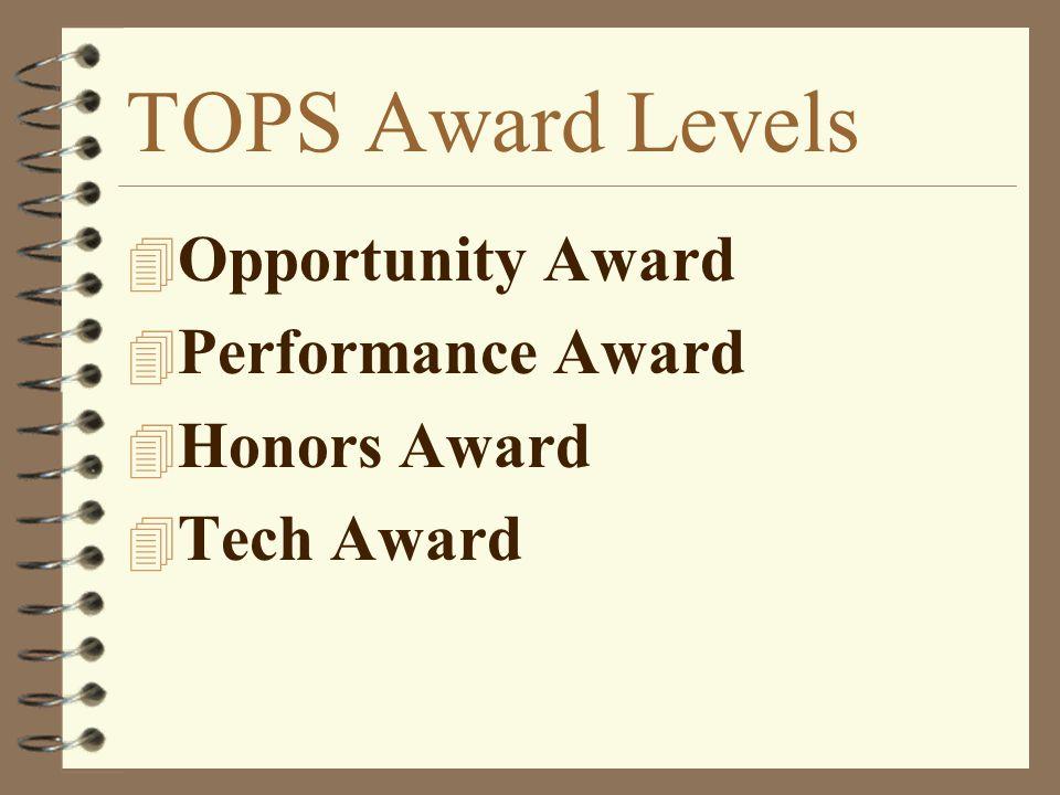 TOPS Award Levels 4 Opportunity Award 4 Performance Award 4 Honors Award 4 Tech Award