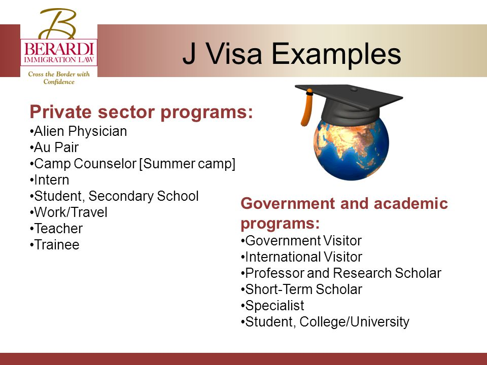 J Visa Examples Private sector programs: Alien Physician Au Pair Camp Counselor [Summer camp] Intern Student, Secondary School Work/Travel Teacher Trainee Government and academic programs: Government Visitor International Visitor Professor and Research Scholar Short-Term Scholar Specialist Student, College/University