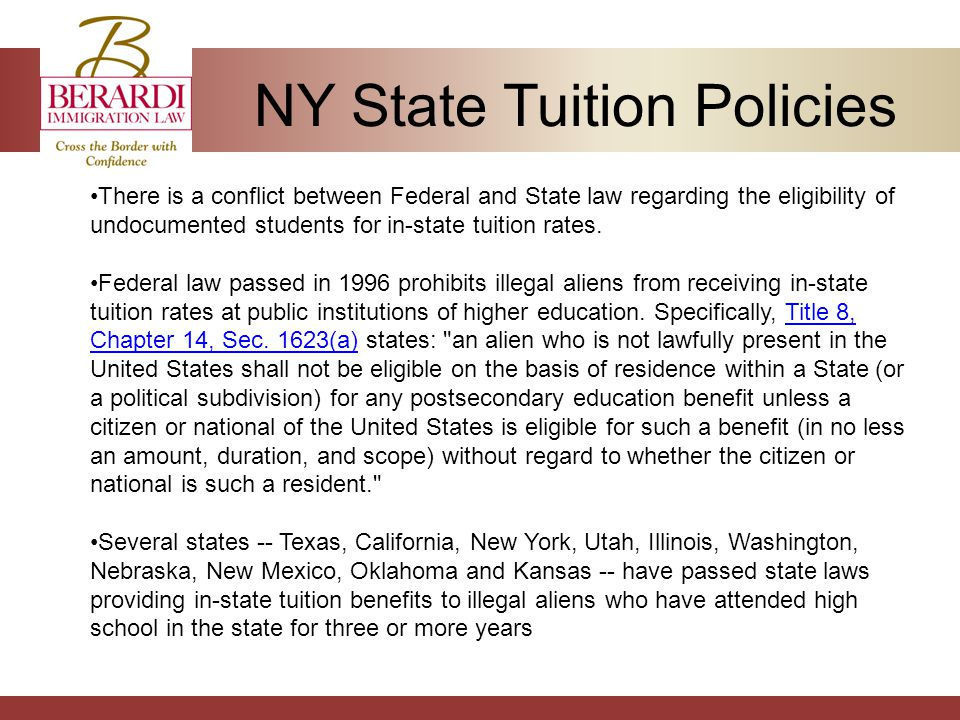 NY State Tuition Policies There is a conflict between Federal and State law regarding the eligibility of undocumented students for in-state tuition rates.