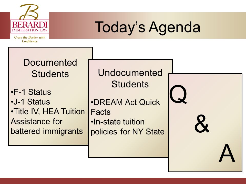 Today's Agenda Documented Students F-1 Status J-1 Status Title IV, HEA Tuition Assistance for battered immigrants Undocumented Students DREAM Act Quick Facts In-state tuition policies for NY State Q&AQ&A