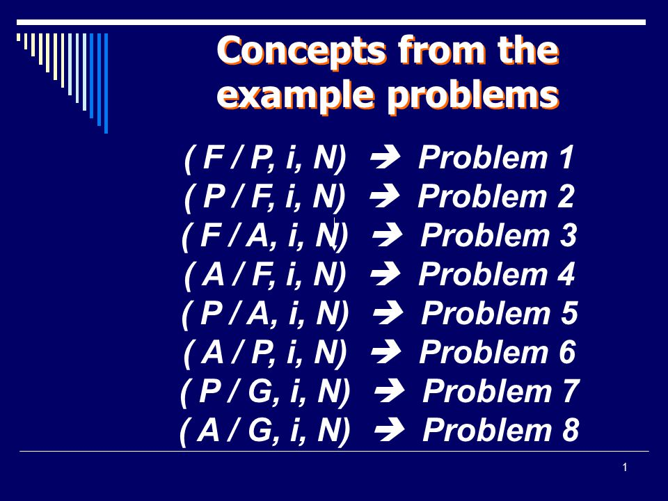 1 Concepts from the example problems ( F / P, i, N)  Problem 1 ( P / F, i, N)  Problem 2 ( F / A, i, N)  Problem 3 ( A / F, i, N)  Problem 4 ( P /