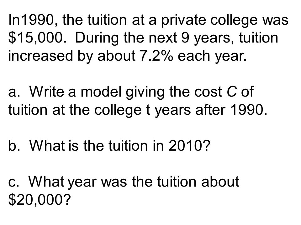 In1990, the tuition at a private college was $15,000.