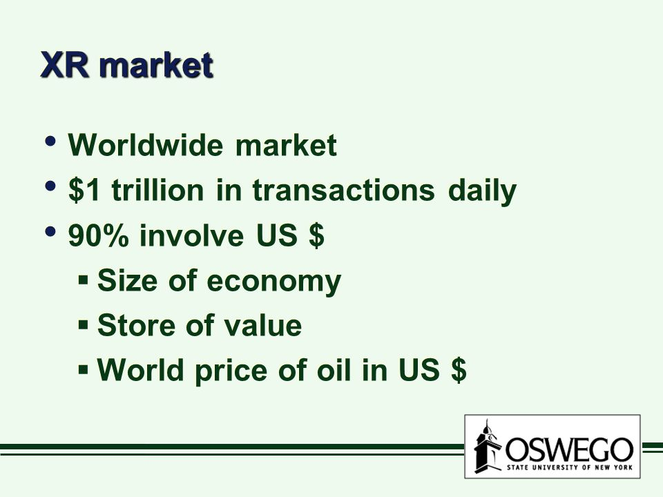 XR market Worldwide market $1 trillion in transactions daily 90% involve US $  Size of economy  Store of value  World price of oil in US $ Worldwide market $1 trillion in transactions daily 90% involve US $  Size of economy  Store of value  World price of oil in US $
