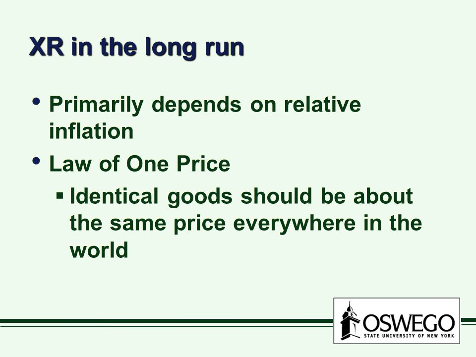 XR in the long run Primarily depends on relative inflation Law of One Price  Identical goods should be about the same price everywhere in the world Primarily depends on relative inflation Law of One Price  Identical goods should be about the same price everywhere in the world