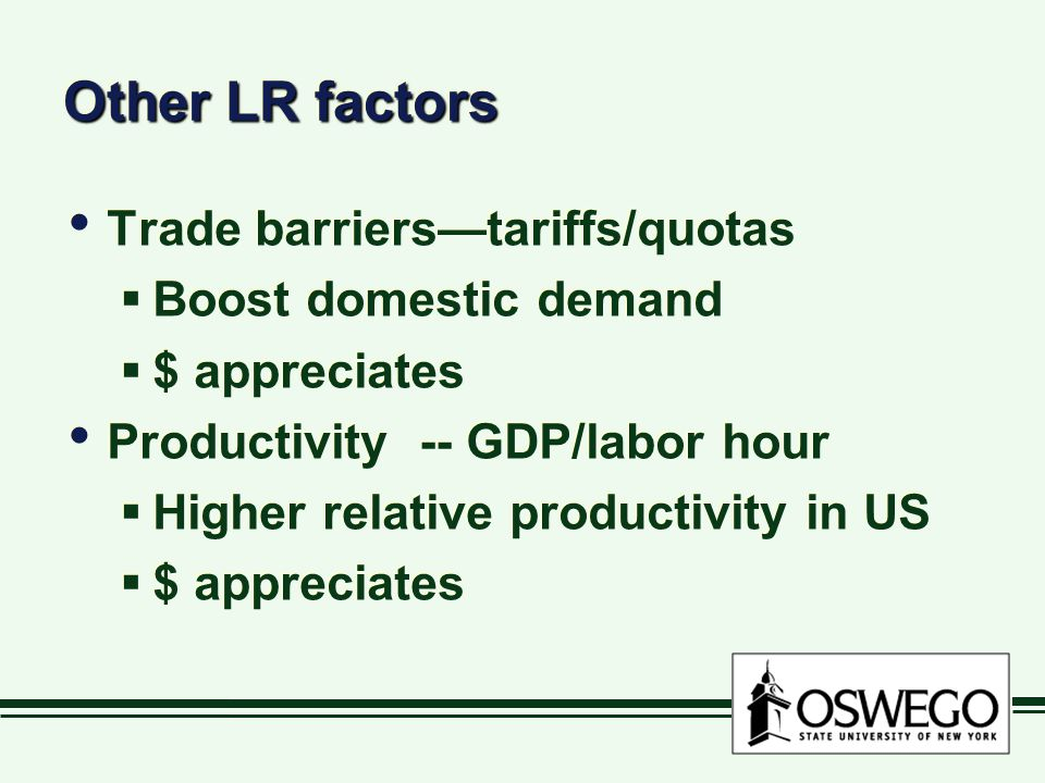 Other LR factors Trade barriers—tariffs/quotas  Boost domestic demand  $ appreciates Productivity -- GDP/labor hour  Higher relative productivity in US  $ appreciates Trade barriers—tariffs/quotas  Boost domestic demand  $ appreciates Productivity -- GDP/labor hour  Higher relative productivity in US  $ appreciates