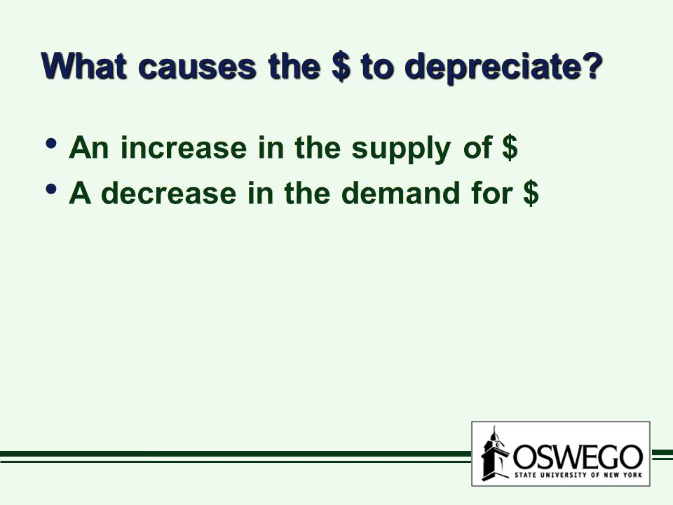 What causes the $ to depreciate.