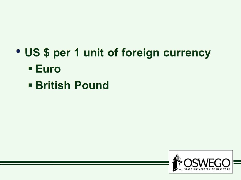 US $ per 1 unit of foreign currency  Euro  British Pound US $ per 1 unit of foreign currency  Euro  British Pound