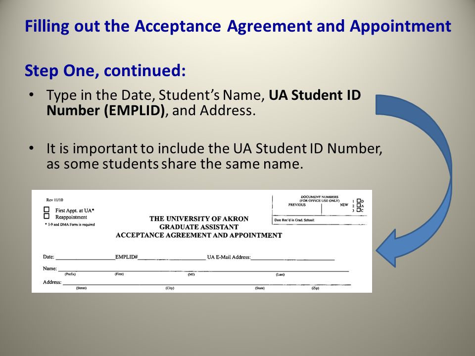 Type in the Date, Student's Name, UA Student ID Number (EMPLID), and Address.