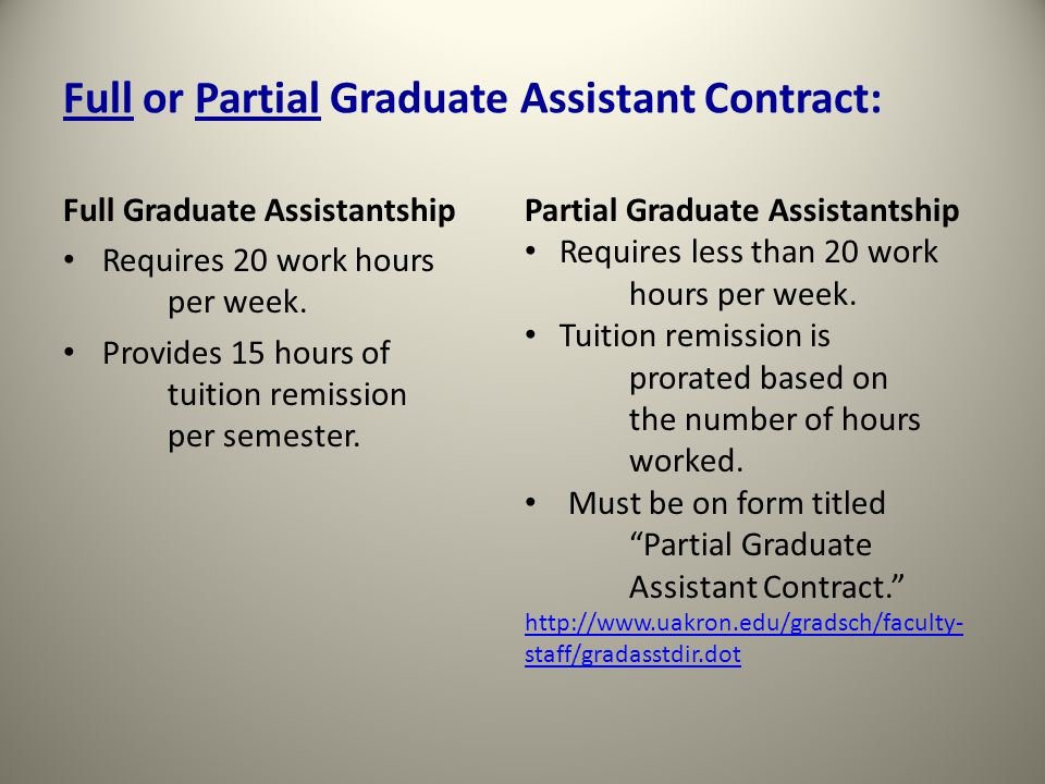 Sample of the Acceptance Agreement portion of the Graduate Assistant Contract (2 pages)
