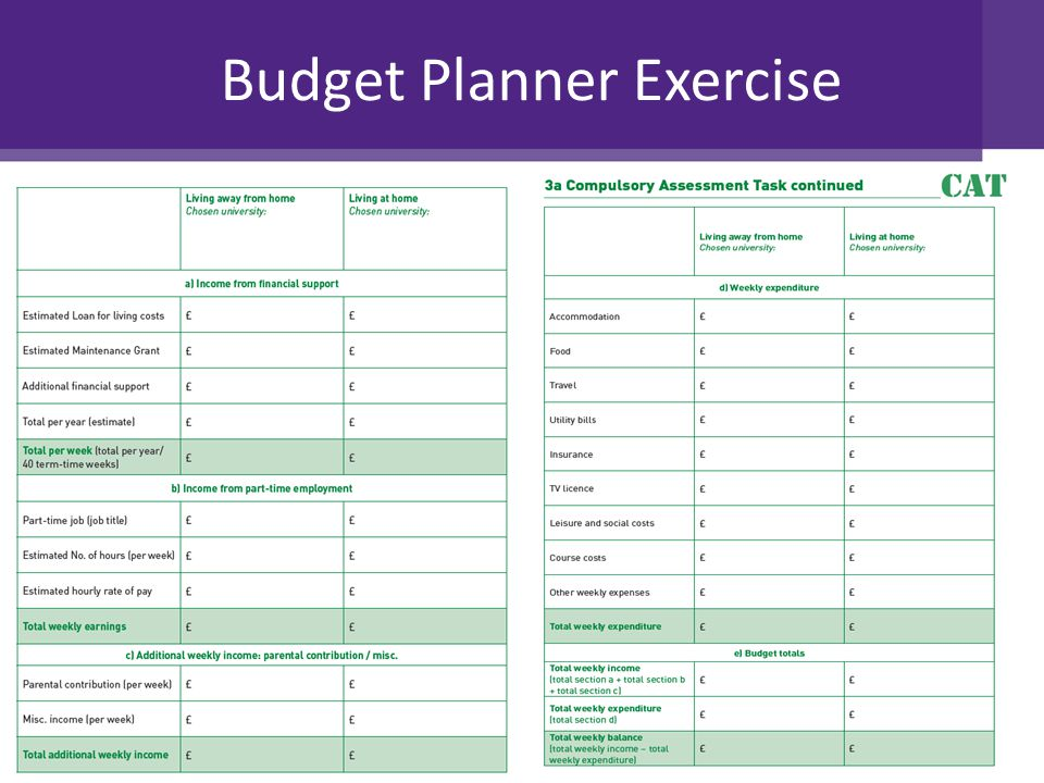 Budget Planner Exercise