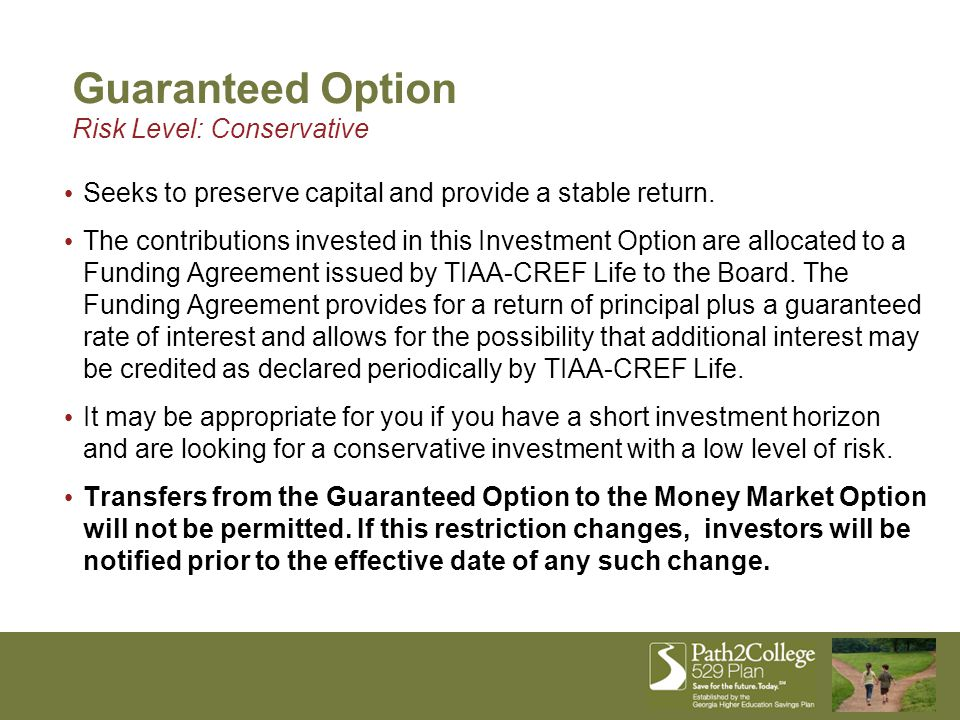 Seeks to preserve capital and provide a stable return. The contributions invested in this Investment Option are allocated to a Funding Agreement issue