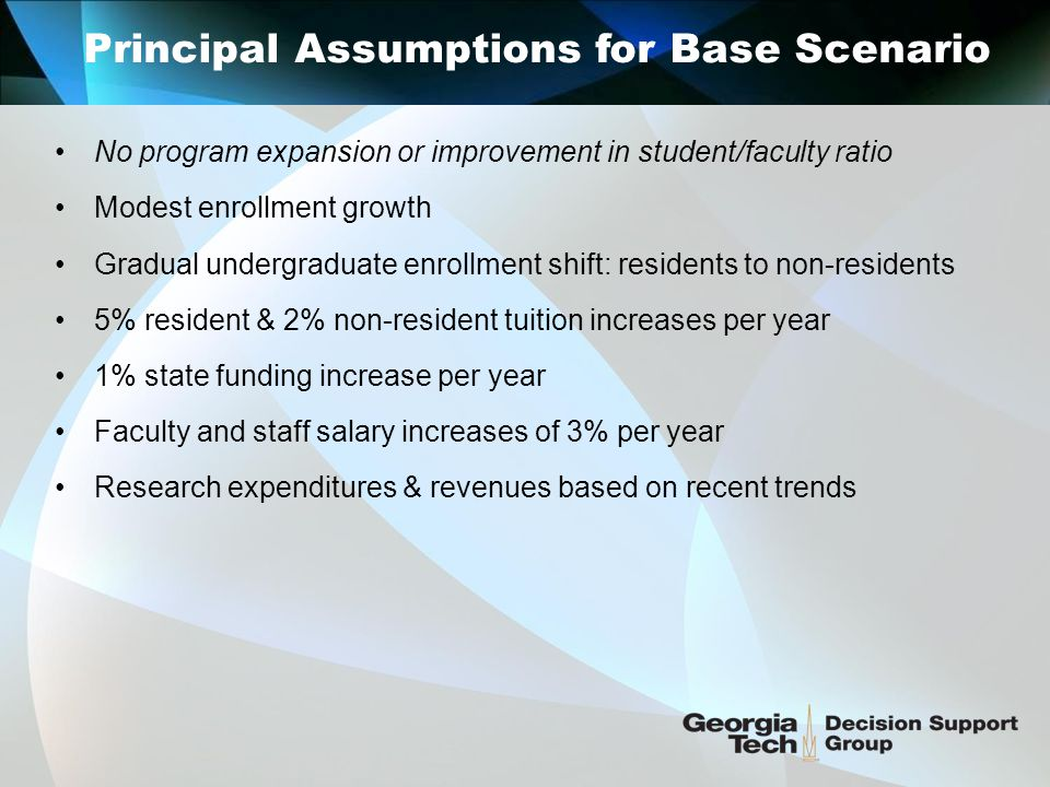 Principal Assumptions for Base Scenario No program expansion or improvement in student/faculty ratio Modest enrollment growth Gradual undergraduate enrollment shift: residents to non-residents 5% resident & 2% non-resident tuition increases per year 1% state funding increase per year Faculty and staff salary increases of 3% per year Research expenditures & revenues based on recent trends