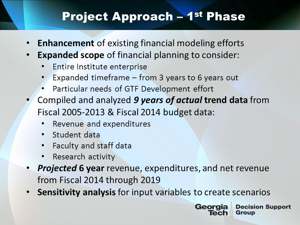 Project Approach – 1 st Phase Enhancement of existing financial modeling efforts Expanded scope of financial planning to consider: Entire Institute en