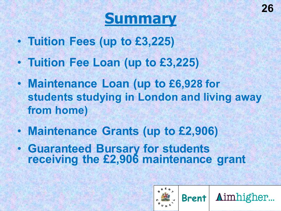 Brent 26 Tuition Fees (up to £3,225) Tuition Fee Loan (up to £3,225) Maintenance Loan (up to £6,928 for students studying in London and living away from home) Maintenance Grants (up to £2,906) Guaranteed Bursary for students receiving the £2,906 maintenance grant Summary