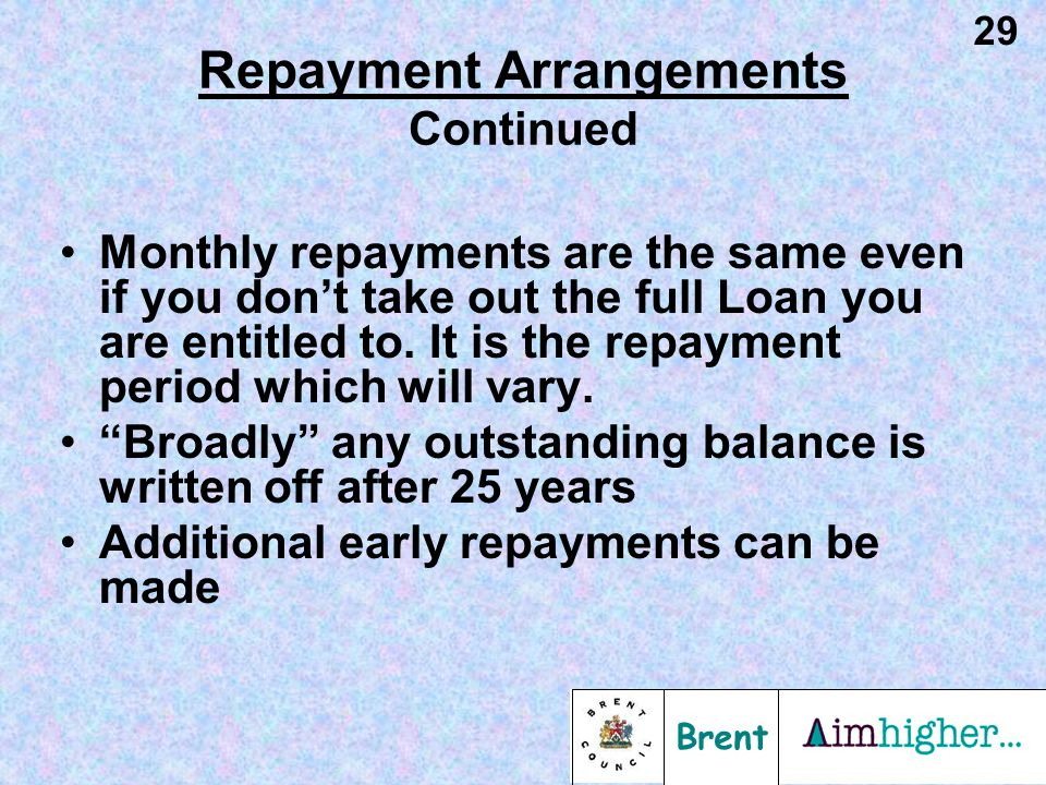 Brent 29 Repayment Arrangements Continued Monthly repayments are the same even if you don't take out the full Loan you are entitled to. It is the repa
