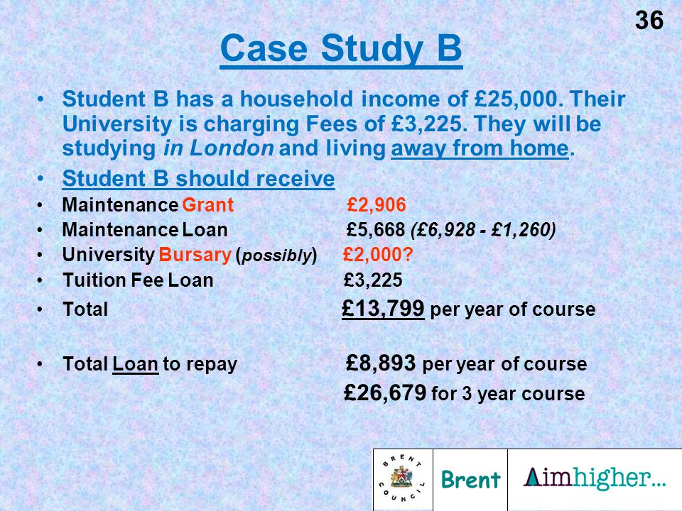 Brent 37 Case Study C Student C has a household income of £25,000.