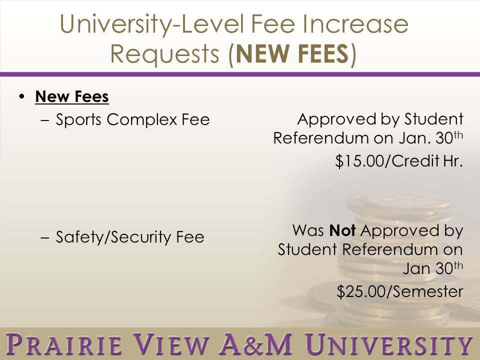 University-Level Fee Increase Requests ( NEW FEES ) New Fees –Sports Complex Fee –Safety/Security Fee Approved by Student Referendum on Jan.