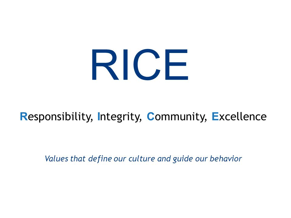 32 RICE R esponsibility, I ntegrity, C ommunity, E xcellence Values that define our culture and guide our behavior