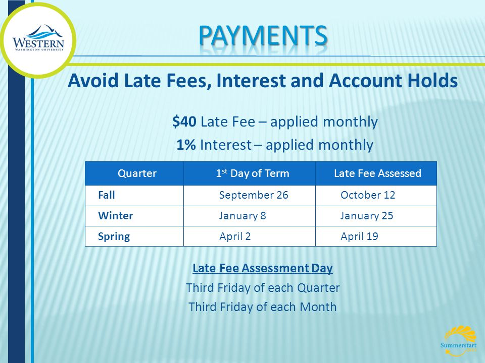 $40 Late Fee – applied monthly 1% Interest – applied monthly Late Fee Assessment Day Third Friday of each Quarter Third Friday of each Month Avoid Late Fees, Interest and Account Holds Quarter1 st Day of TermLate Fee Assessed Fall Winter Spring September 26 January 8 April 2April 19 January 25 October 12