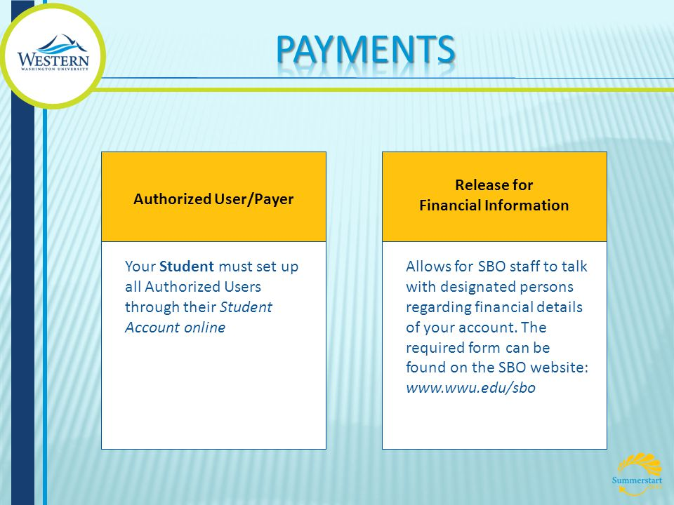 Authorized User/Payer Your Student must set up all Authorized Users through their Student Account online Release for Financial Information Allows for SBO staff to talk with designated persons regarding financial details of your account.