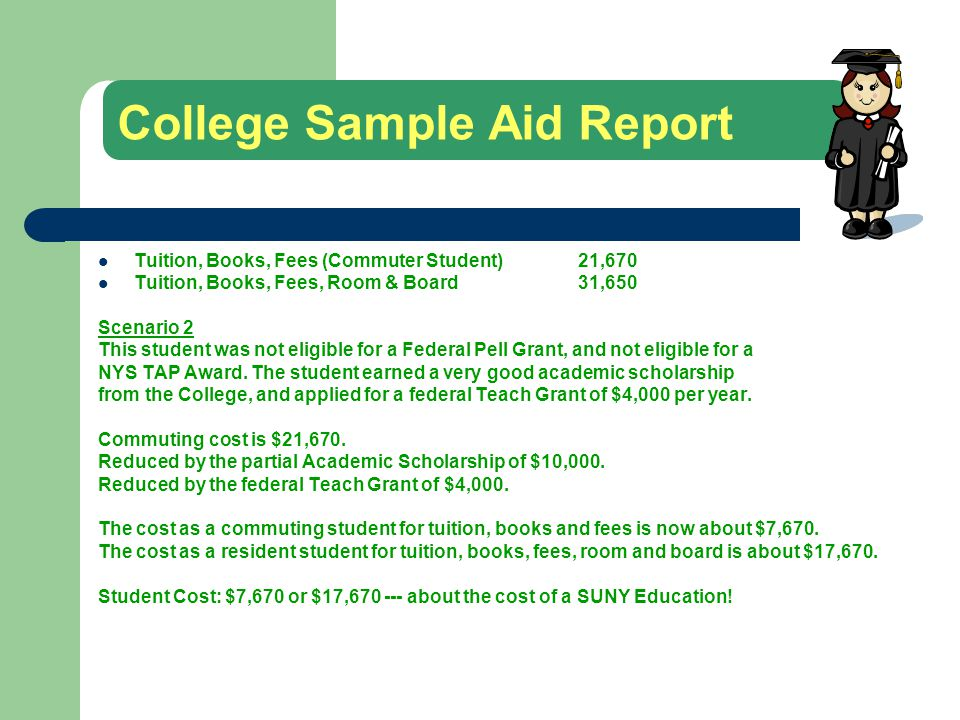 College Sample Aid Report Tuition, Books, Fees (Commuter Student)21,670 Tuition, Books, Fees, Room & Board 31,650 Scenario 2 This student was not eligible for a Federal Pell Grant, and not eligible for a NYS TAP Award.
