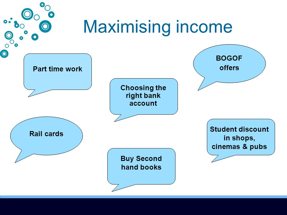Maximising income Part time work Choosing the right bank account Rail cards BOGOF offers Student discount in shops, cinemas & pubs Buy Second hand books
