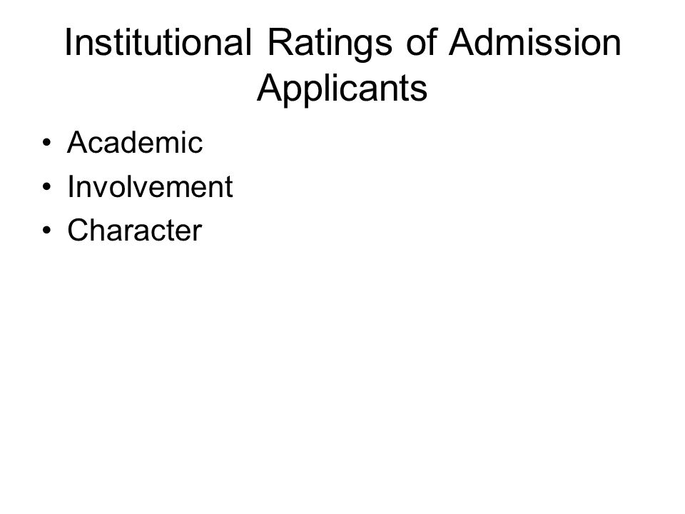 Institutional Ratings of Admission Applicants Academic Involvement Character