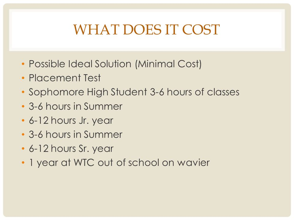 WHAT DOES IT COST Possible Ideal Solution (Minimal Cost) Placement Test Sophomore High Student 3-6 hours of classes 3-6 hours in Summer 6-12 hours Jr.