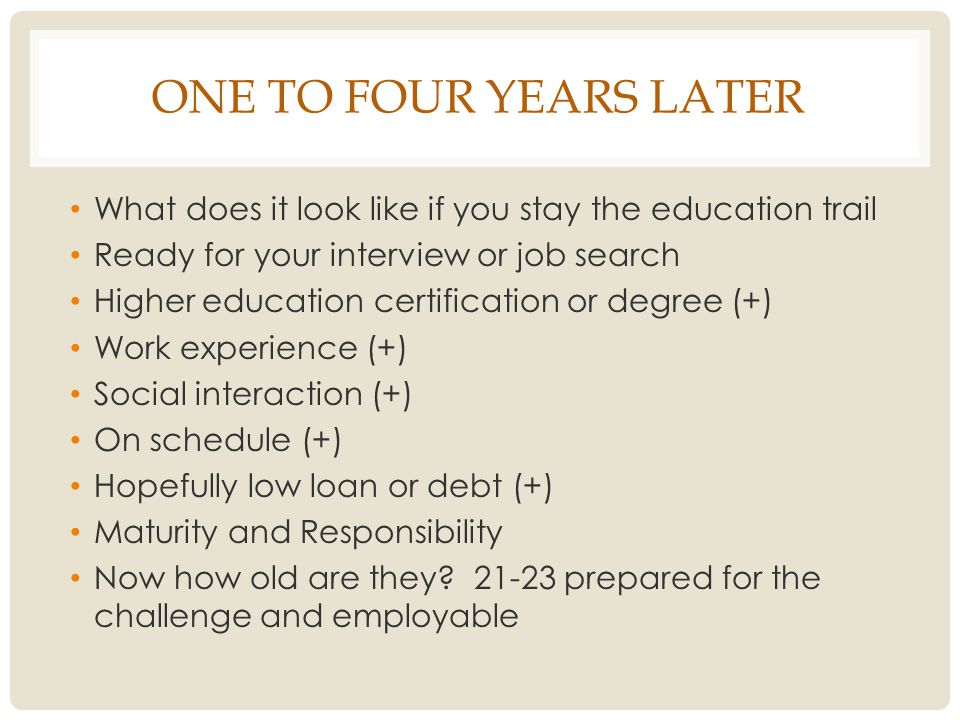 ONE TO FOUR YEARS LATER What does it look like if you stay the education trail Ready for your interview or job search Higher education certification or degree (+) Work experience (+) Social interaction (+) On schedule (+) Hopefully low loan or debt (+) Maturity and Responsibility Now how old are they.
