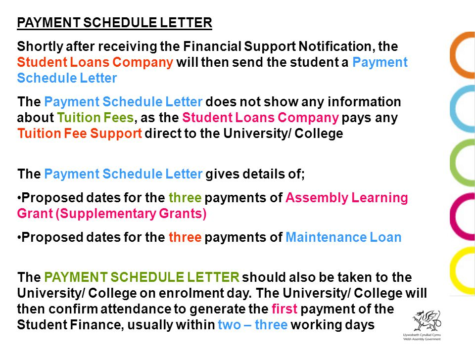 PAYMENT SCHEDULE LETTER Shortly after receiving the Financial Support Notification, the Student Loans Company will then send the student a Payment Schedule Letter The Payment Schedule Letter does not show any information about Tuition Fees, as the Student Loans Company pays any Tuition Fee Support direct to the University/ College The Payment Schedule Letter gives details of; Proposed dates for the three payments of Assembly Learning Grant (Supplementary Grants) Proposed dates for the three payments of Maintenance Loan The PAYMENT SCHEDULE LETTER should also be taken to the University/ College on enrolment day.