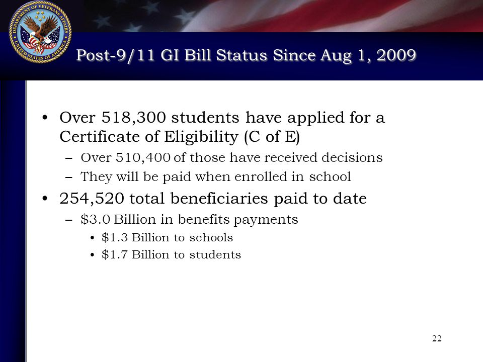 Post-9/11 GI Bill Status Since Aug 1, 2009 Post-9/11 GI Bill Status Since Aug 1, 2009 22 Over 518,300 students have applied for a Certificate of Eligibility (C of E) –Over 510,400 of those have received decisions –They will be paid when enrolled in school 254,520 total beneficiaries paid to date –$3.0 Billion in benefits payments $1.3 Billion to schools $1.7 Billion to students