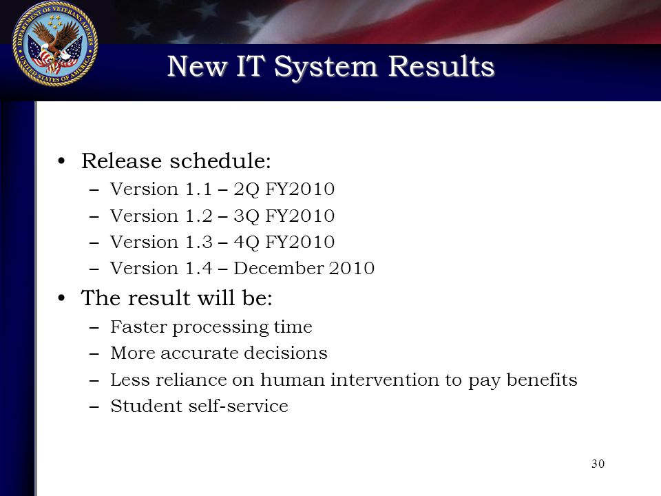 New IT System Results 30 Release schedule: –Version 1.1 – 2Q FY2010 –Version 1.2 – 3Q FY2010 –Version 1.3 – 4Q FY2010 –Version 1.4 – December 2010 The result will be: –Faster processing time –More accurate decisions –Less reliance on human intervention to pay benefits –Student self-service