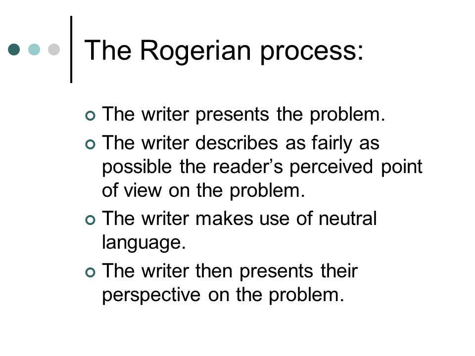 The Rogerian process: The writer presents the problem.