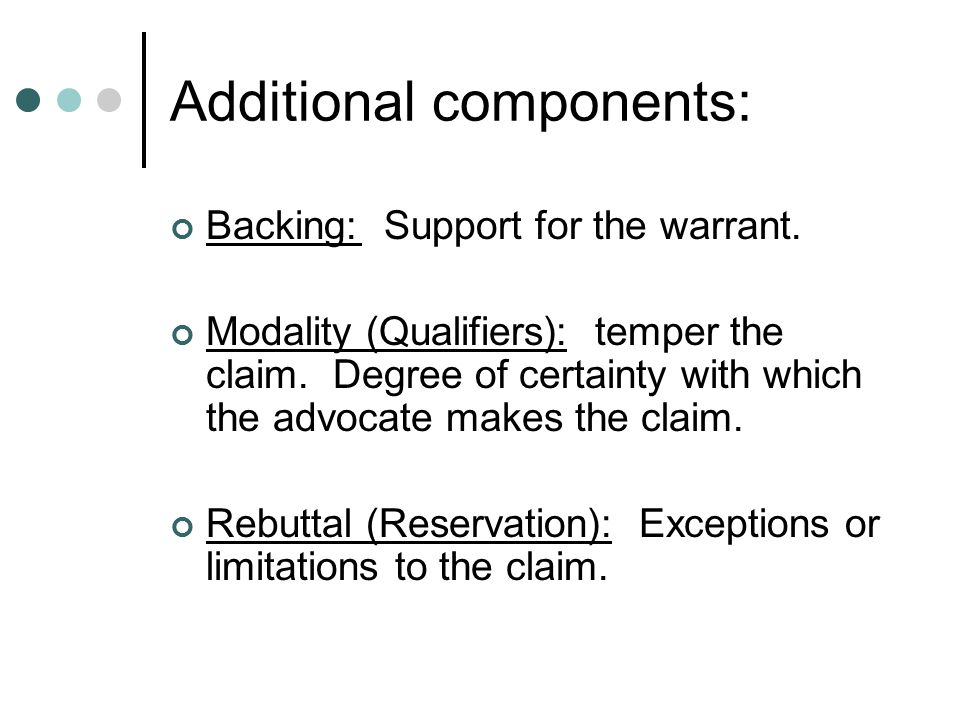 Additional components: Backing: Support for the warrant.