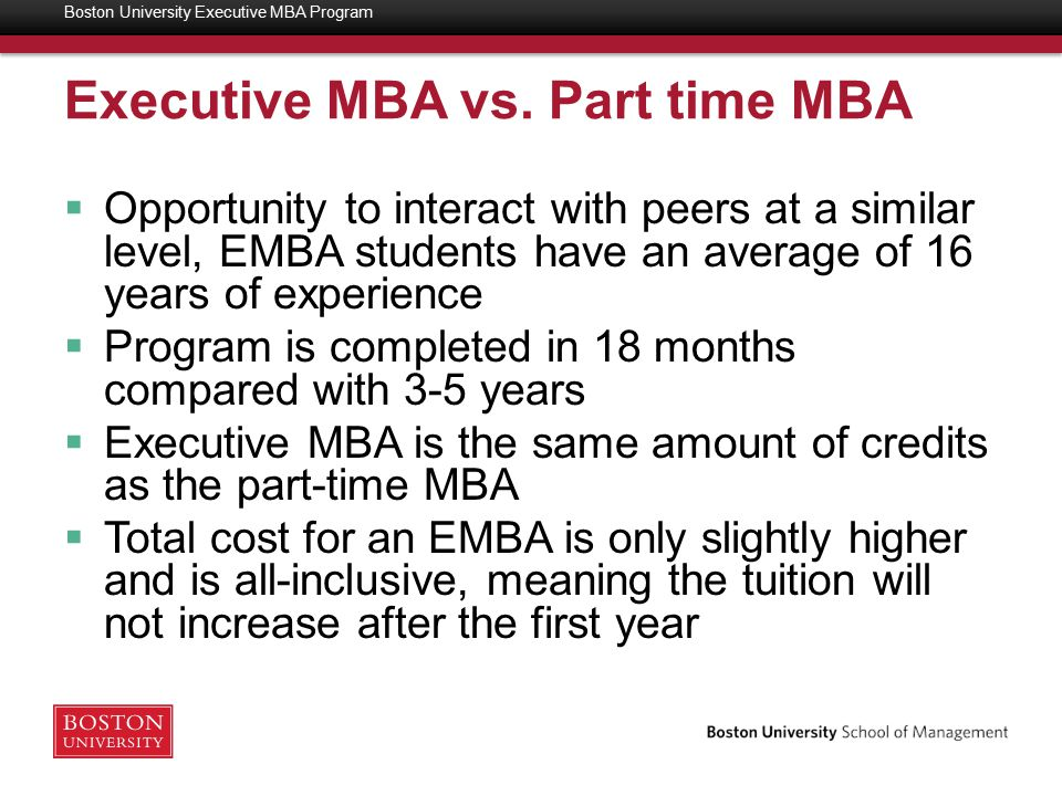 Why a Boston University EMBA  28 year history of delivering a top Executive MBA Program, with an extensive alumni network  Accelerated 18-month program designed for an executive schedule  Customized curriculum delivered in integrated modules taught by senior faculty with real world and academic experience  Class members selected for diverse industry and functional experience  Unique approach to international strategy and global experience, including an international trip Boston University Executive MBA Program