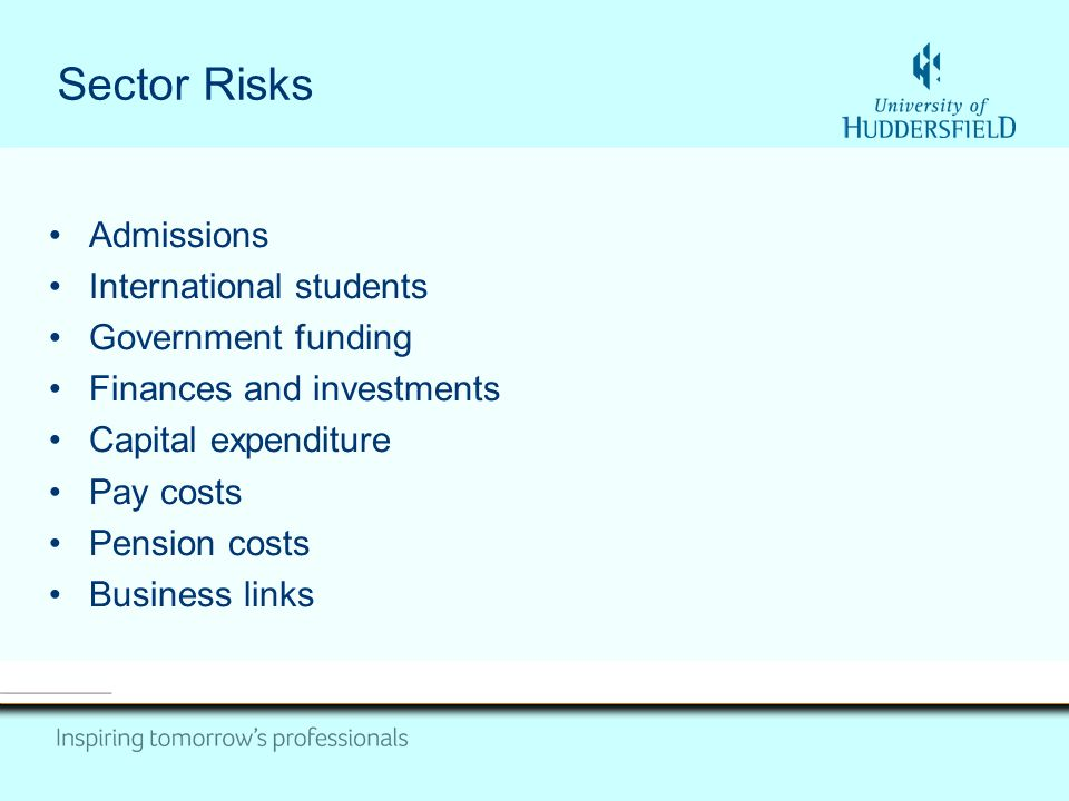 Sector Risks Admissions International students Government funding Finances and investments Capital expenditure Pay costs Pension costs Business links