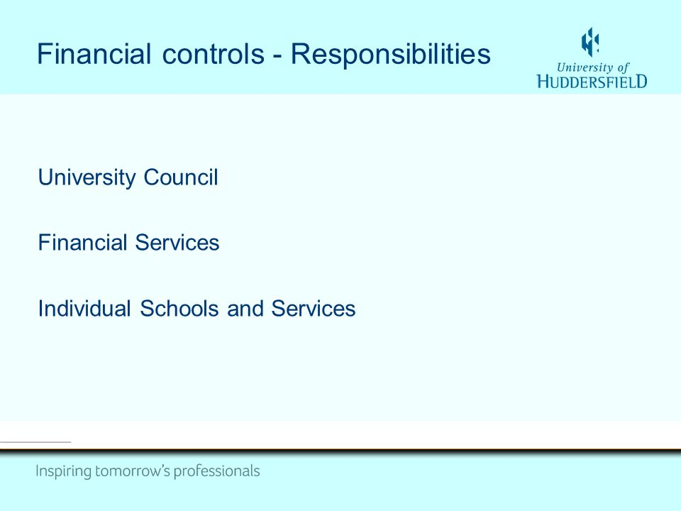 Financial controls - Responsibilities University Council Financial Services Individual Schools and Services