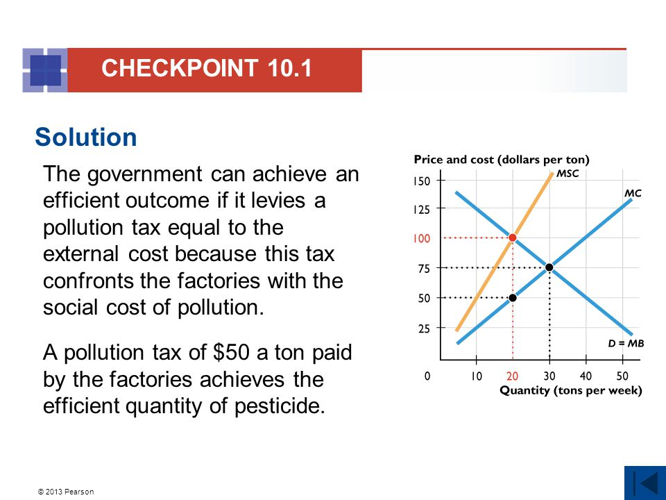 © 2013 Pearson Solution The government can achieve an efficient outcome if it levies a pollution tax equal to the external cost because this tax confr