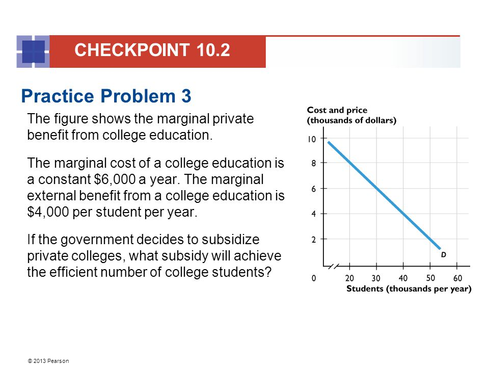 © 2013 Pearson Practice Problem 3 The figure shows the marginal private benefit from college education. The marginal cost of a college education is a